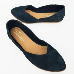 Toms Jutti Womens Flats Black Suede Slip On Shoes